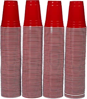AmazonBasics 16oz Disposable Plastic Cups - 240-Pack, Red
