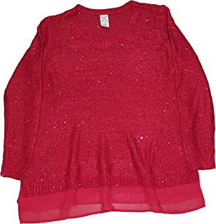 Women's Plus Size Classic Red Sequin Pullover Sweater