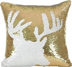 وسادة أريكة محشوة بتصميم حيوان الرنة من سارو لايف ستايل مقاس 40.64 سم × 40.64 سم، لون ذهبي