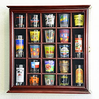 21 Shot Glass Shotglass Shooter Display Case Holder Cabinet Wall Rack 98% UV Lockable -Cherry