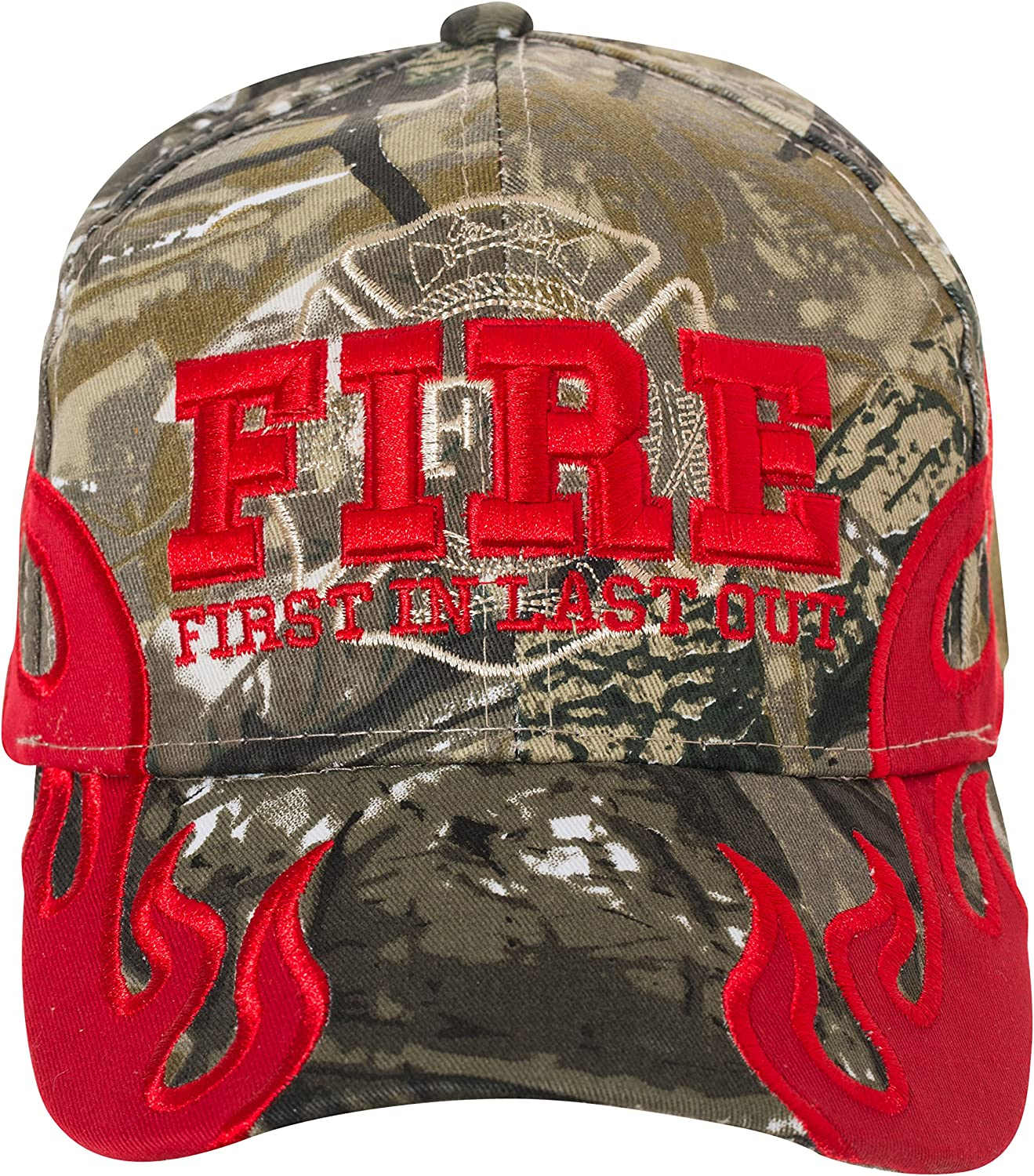First in Last Out Fire Rescue Flames Baseball Cap with Adjustabl