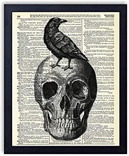 Skull With Crow Vintage Wall Art Upcycled Dictionary Art Print Poster 8x10 inches, Unframed