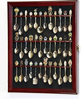 36 Spoon Display Case Cabinet Holder Rack Wall Mounted -Cherry Finish