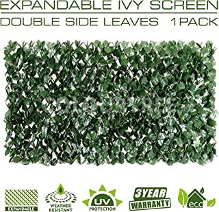 ColourTree Expandable Faux Artificial Ivy Trellis Fence Screen Privacy Screen Wall Screen - Commercial Grade 150 GSM - Heavy Duty - 3 Years Warranty (1, Double Sided Leaves)