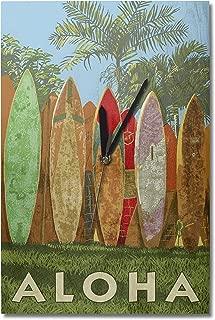 Lantern Press Surfboard Fence - Aloha (10x15 Wood Wall Clock, Decor Ready to Hang)