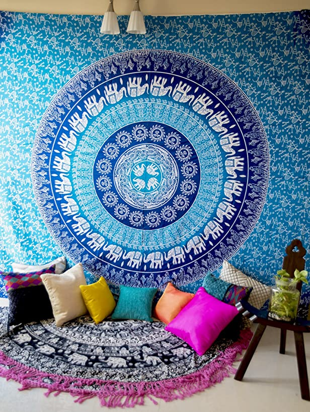 Hippie Elephant Mandala Tapestry Wall Hanging, Blue Bohemian Art or Indian Ombre Hippy Bedding Bedspread Set for Bedroom, College Dorm Room Accessories or Beach Blanket, Queen Size Flat Boho Bed Cover
