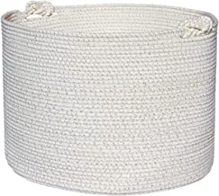Extra Large Cotton Rope Basket – Neutral White and Gold Hamper 20