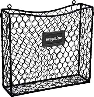 Country Rustic Black Metal Wire Wall Mounted Magazine, File & Mail Holder Basket w/Chalkboard Label