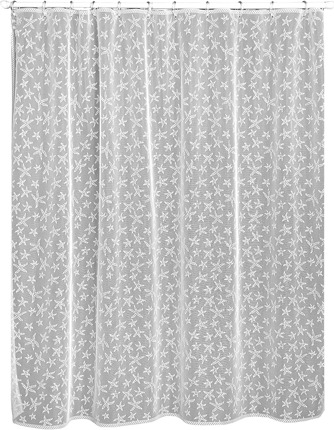 Heritage Lace Starfish Shower Curtain, 72 by 72-Inch, White