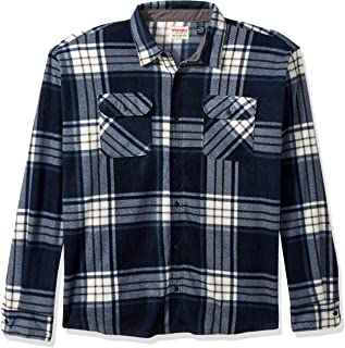 Authentics Men's Long Sleeve Plaid Fleece Shirt, Total...