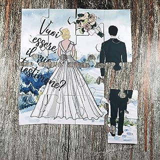 Vuoi essere il mio testimone? Puzzle per il testimone della sposa personalizzato nei capelli, abito e sfondo, regalo per t...