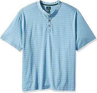 G.H. Bass & Co. Men's Big and Tall Jack Mountain Short Sleeve Texture Stripe Henley Shirt