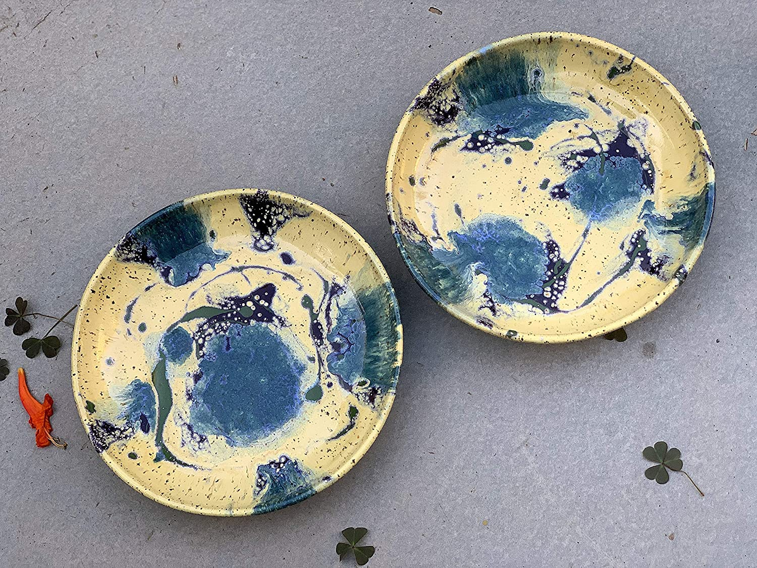 Yellow and Blue Tie Popular Max 68% OFF brand in the world Dye Plate set Clay Kitche of Art Handmade 2
