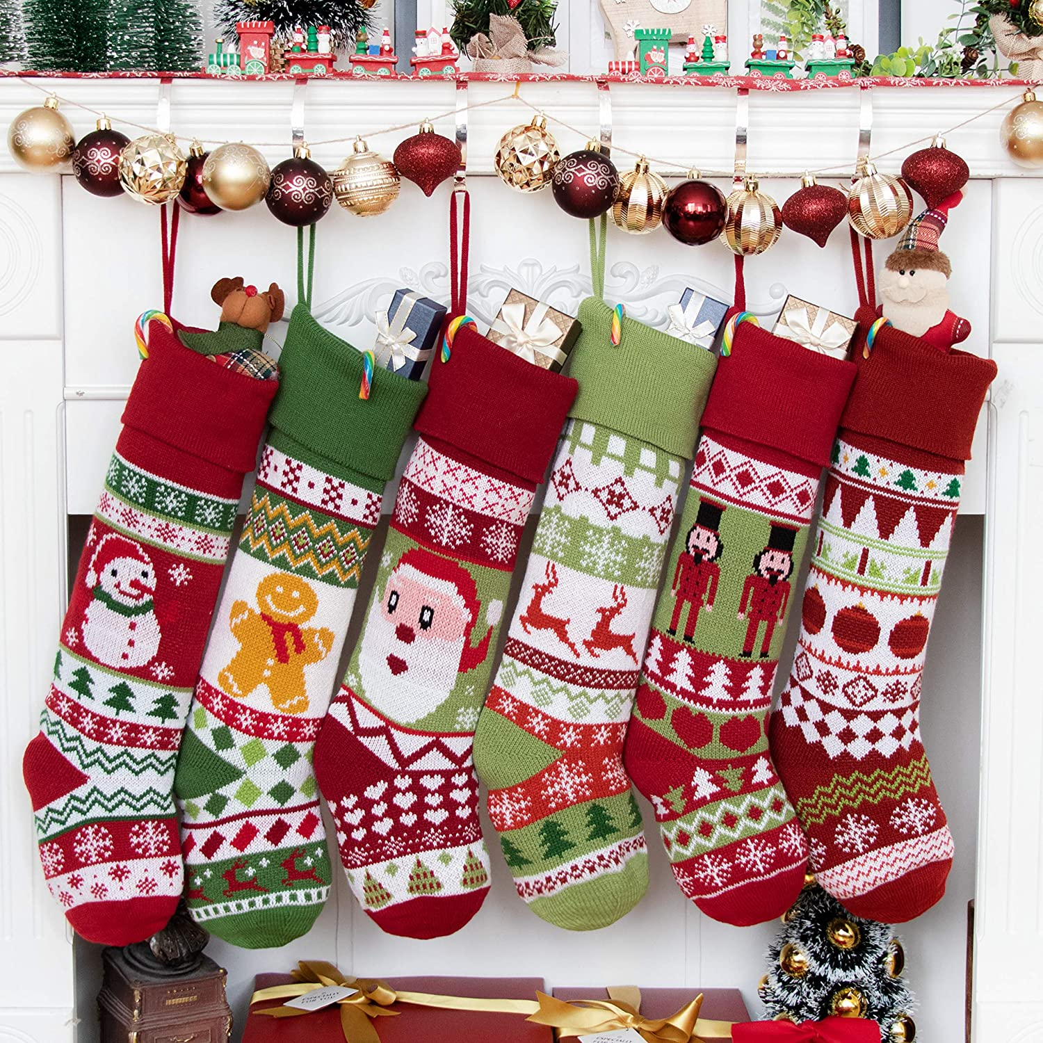 BHD Special sale item Milwaukee Mall BEAUTY Knitting Family Christmas Yarn Stocking Heavy Orn for