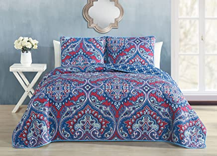 featured product Avondale Manor Cantara 3 Piece Quilt Set Queen Blue