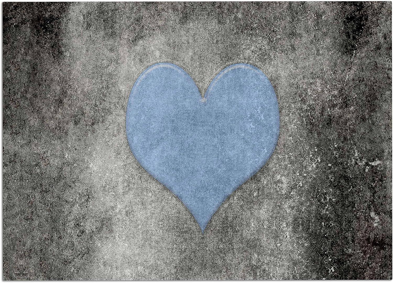 KESS InHouse BS1084ADM02 Bruce Stanfield Vintage Valentines bluee bluee Black Digital Dog Place Mat, 24 x15