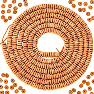 Over 500 Natural Leather Spacer Beads for Jewelry Making Adults, 6mm Round Bead Size - 1mm Hole Size, Genuine Leather Disc Spacers for Crafting Necklace & Bracelet Projects