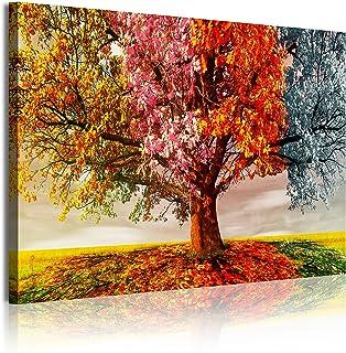 DekoArte 337 Cuadros Modernos Impresión de Imagen Artística Digitalizada, Lienzo Decorativo para Tu Salón o Dormitorio, Estilo Paisaje Árboles Cuatro Estaciones del Año, naranjas, 1 pieza (120x80x3cm)