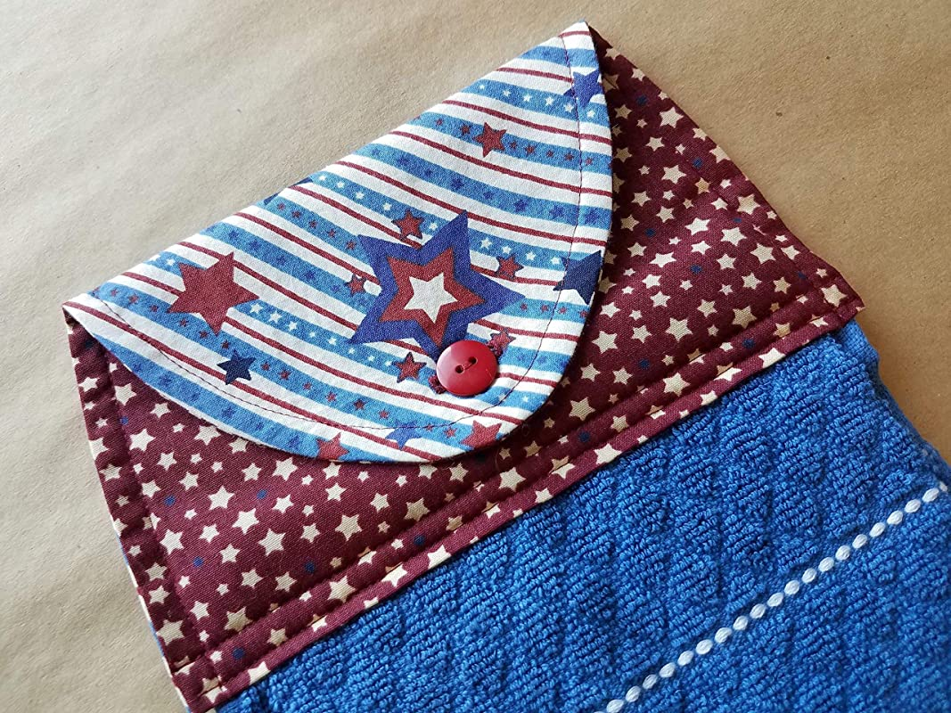 Patriotic Stars Stripes Hanging Kitchen Towel Americana Home Decor Button Top Dish Towel Rustic Country Red White Blue USA BBQ Summer Home Decor Cookout 4th Of July Linens Hostess Gift Under 20