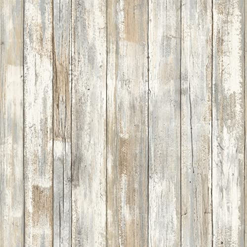RoomMates Distressed Wood Peel and Stick Wallpaper | Removable Wallpaper | Self Adhesive Wallpaper