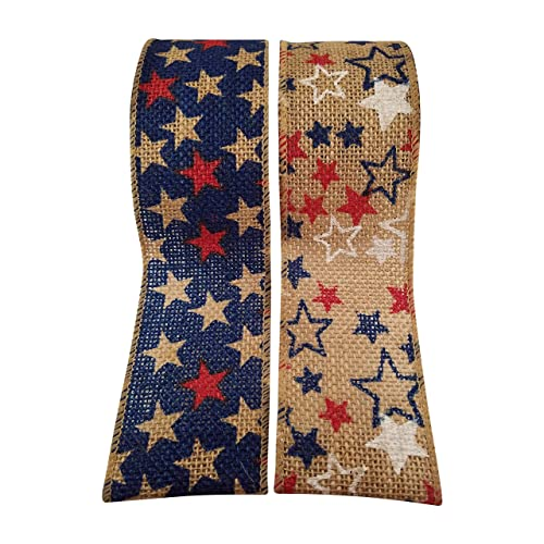 edf043792fac 4th of July Wired Burlap Ribbon with American Flag Stars Print - 2 Rolls -  Each