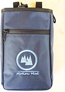 Motion Mod Large Pockets Chalk Bag for Rock Climbing, Weightlifting, Gymnastics, Fits for Large Phone Like iPhone x Plus or Samsung S9 Plus. Comes with Belt and Carabiner.