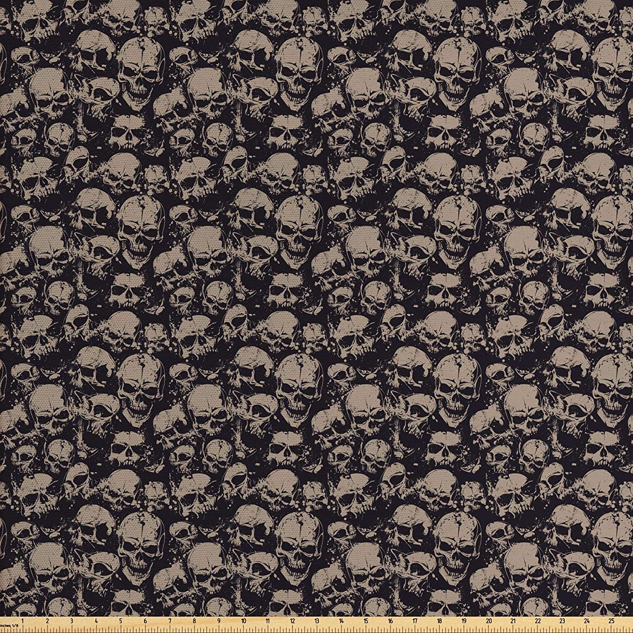 Ambesonne Skull Fabric by The Yard, Grunge Scary Skulls Sketchy Graveyard Death Evil Face Horror Theme Design, Decorative Fabric for Upholstery and Home Accents, 1 Yard, Charcoal Grey Tan