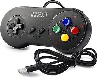 iNNEXT SNES Retro USB Controller Gamepad Joystick, USB PC Super Classic Controller Joypad Gamestick for Windows PC MAC Linux Raspberry Pi 3 Sega Genesis Higan Emulator (Black)
