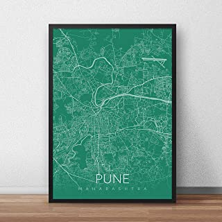 Recollection Pune City Map Art Print Poster Wall Decor for Home Office Restaurant Hotel Interior Decoration- without Frame...