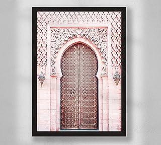 Decorazione da parete - Porta marocchina rosa, poster da parete poster premium per soggiorno, formato A4 A3, senza cornice...