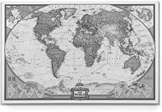 World Travel Map Wall Art Collection Executive National Geographic World Travel Map Canvas Prints Wrapped Gallery Wall Art  Ready to Hang, 24X36, White/Black