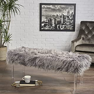 Christopher Knight Home 302682 Klamma Glam Grey Faux Fur Short and Straight Furry Ottoman with Clear Acrylic Legs