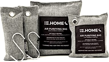 IE.HOME 100% All Natural Activated Bamboo Charcoal Air Purifying Deodorizer Bags 4 Pack Set   3 Sizes (500g, 200g, 75g x 2) + BONUS S Shaped Hooks x 2 + Cotton Fiber Cord