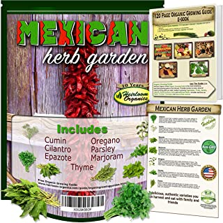 Mexican Herb Garden Seed Collection– Culinary Herbs. 7 Authentic Varieties: Cumin, Cilantro, Epazote, Oregano, Parsley, Marjoram, Thyme Free Online Organic Growing Guide