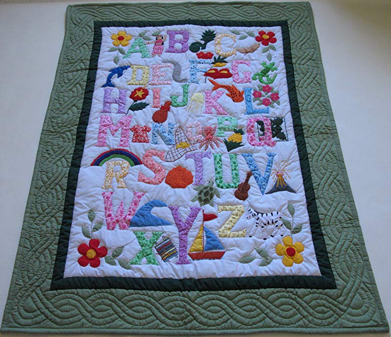 Hawaiian Style Quilt ABC Baby Crib Blanket Wall Hanging Hand Quilted Hand Appliqued And Machine Embroidered