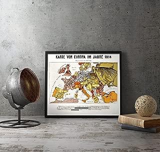UpCrafts Studio Design WWI German Map - Europe 1914 year - WW1 Propaganda Poster Reproduction (Replica)