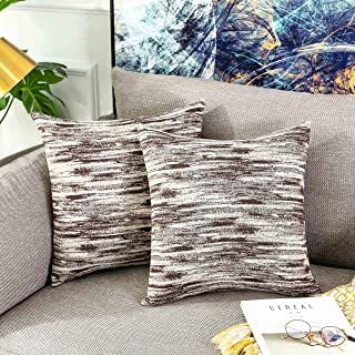 Home Brilliant Accent Decor Decorative Pillows Covers for Couch Striped Cushion Covers for Bedroom, 18x18 inches, Set of 2, Brown