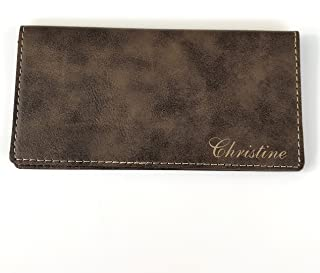 Personalized Checkbook Cover Faux Leather Permanently Engraved