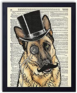 Gentleman German Shepherd In Top Hat Vintage Wall Art Upcycled Dictionary Art Print Poster 8x10 inches, Unframed