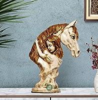 "SHRI HANDICRAFTS 14"" Handmade Horse Lover Statue Stone Finish Animal Figurines Gifts Antique Design for Home Decoration,..."