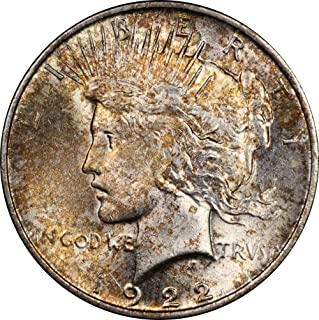 1922 U.S. Peace Dollar Silver Coin, Mint State Condition, Golden Toning, Philadelphia Mint