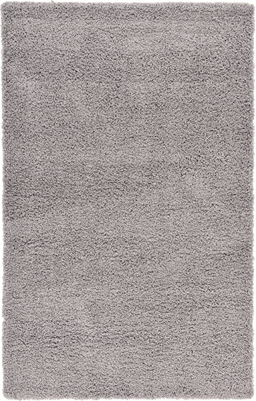Unique Loom Solo Solid Shag Collection Modern Plush Cloud Gray Area Rug 5 0 X 8 0