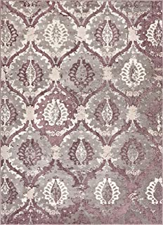 Well Woven Allegro Lavender Microfiber High-Low Pile Vintage Abstract Erased 5x7 (5'3