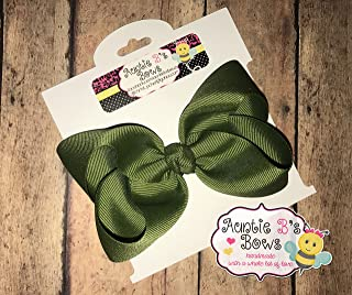 Solid Moss Green Boutique Hair Bow 4