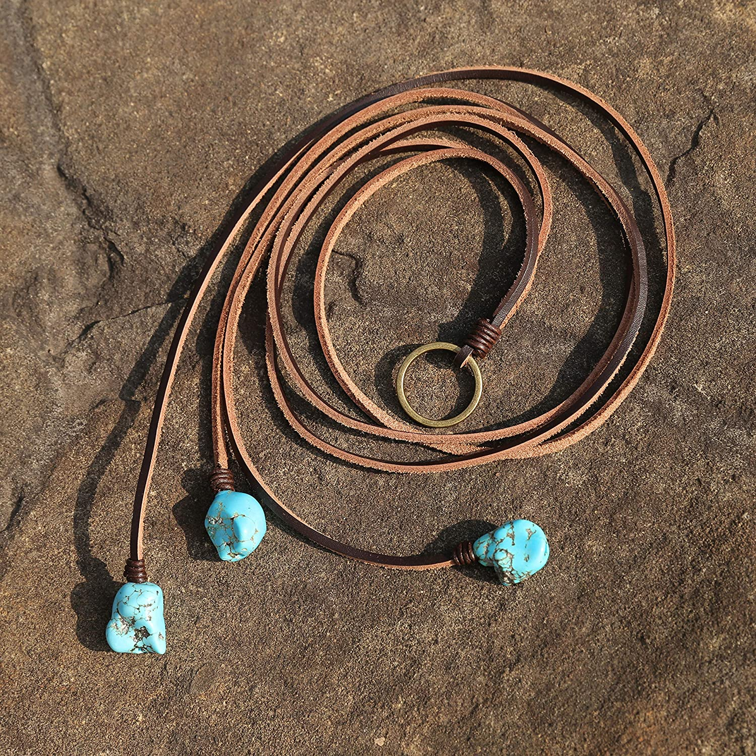 Bohemian Synthetic Turquoise Necklace Handmade Vintage Y-shaped Jewelry with Genuine Flat Brown Leather