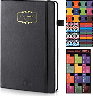 Planner 2019-2020 – Academic Weekly, Monthly and Year Planner with Calendar Stickers, Thicker Paper with Pen Holder, Inner Pocket, 5.4