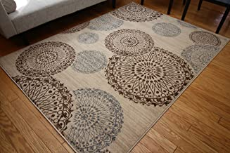 New City Contemporary Modern Flowers Circles Wool Area Rug, 5'2 x 7'3, Beige