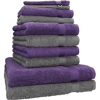 Betz Juego de 10 Toallas Premium 100% algodón 2 Toallas de baño 4 Toallas de Lavabo 4 Toallas de tocador 2 Manoplas de baño Color Gris Antracita y Morado: Amazon.es: Hogar