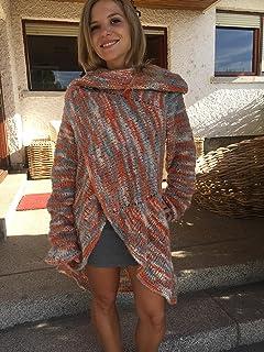 Cardigan, chaqueta o abrigo para primavera-otoño, de mohair y acrílico, muy estiloso, de multicolor, tejido a mano, talla ...