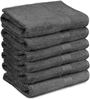 HomeLabels Cotton Soft Spa Bath Towels, Ultra Soft Large Bath Towel, Home Gym Spa Hotel, Ideal for Daily use Highly Absorbent Hotel spa Bathroom Towel Collection, 24 x 48 Inch Set of 6 Grey